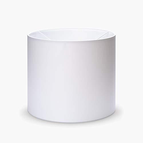 Stoff Lampenschirm Aufnahme E27 Made in Europe 20cm 25cm Textilschirm Tischlampe Stehlampe rund weiß braun grau Hängeleuchte (weiß, 25x22cm)
