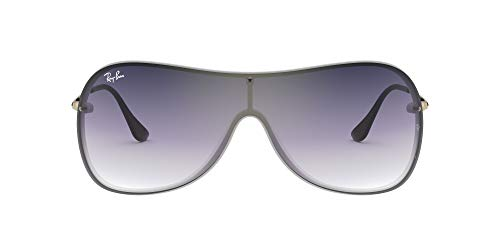 Ray-Ban RB4411 Aviator Sunglasses, Demigloss White/Violet Blue Gradient Mirror, 41 mm