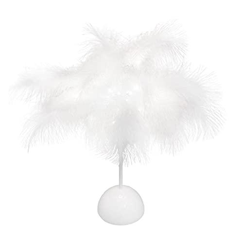 Lámpara de mesa de plumas, lámpara de mesita de noche, luz romántica de plumas para dormitorio, habitación de niños, boda, cumpleaños, mesa, luz de escritorio vintage (blanco)