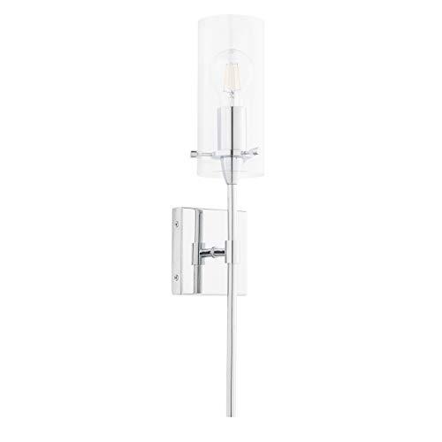Effimero Vanity Light Fixture – Chrome w/ Clear Cylinder - Linea di Liara LL-WL31-PC