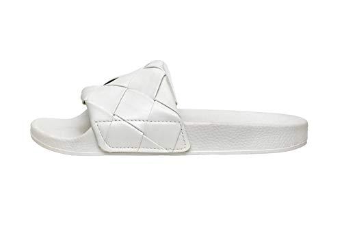 Cushionaire Women's Phoebe woven slide sandal, WHITE 9