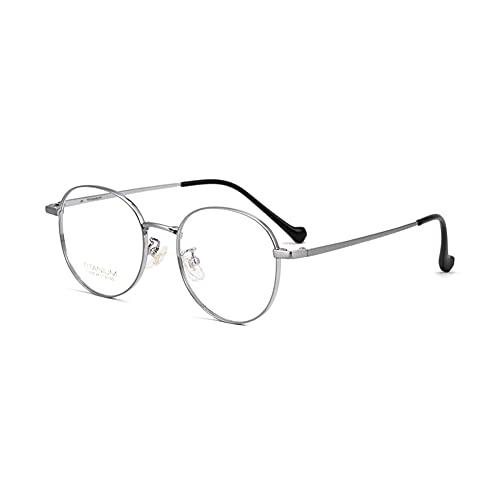 EYEphd Gafas de Lectura Anti-Azules progresivas de Titanio Puro Ultraligero, con Montura Redonda Gafas de Ordenador HD Aumento +1.0 a +3.0,Plata,+2.25