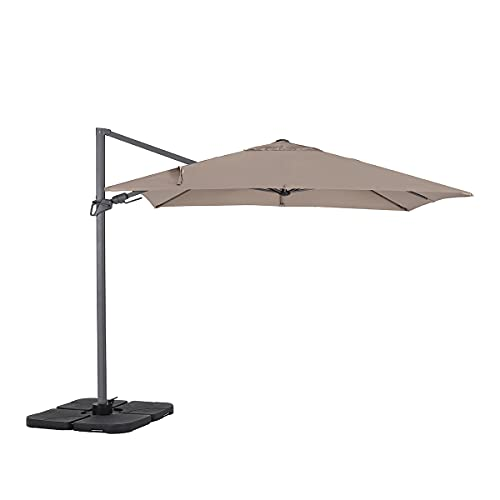 Sekey® Ampelschirm 275 x 275 cm Sonnenschirm Gartenschirm Kurbelschirm mit Kurbelvorrichtung Sonnenschutz UPF50+