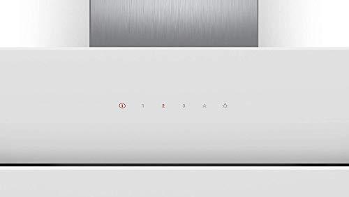 Bosch DWK87CM20 Serie 4 Wandesse / B / 80 cm / Klarglas Weiß / wahlweise Umluft- oder Abluftbetrieb / TouchSelect Bedienung / Intensivstufe / Metallfettfilter (spülmaschinengeeignet)