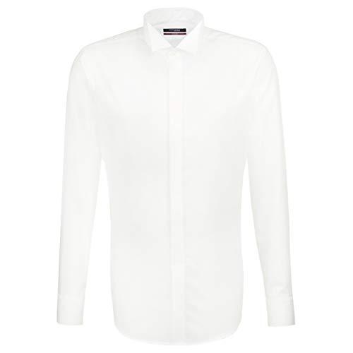 Seidensticker Herren Smoking Hemd, Weiß (01 weiß), 43