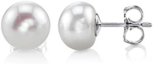 THE PEARL SOURCE Sterling Silver 8-9mm Button White Freshwater Cultured Pearl Stud Earrings for Women