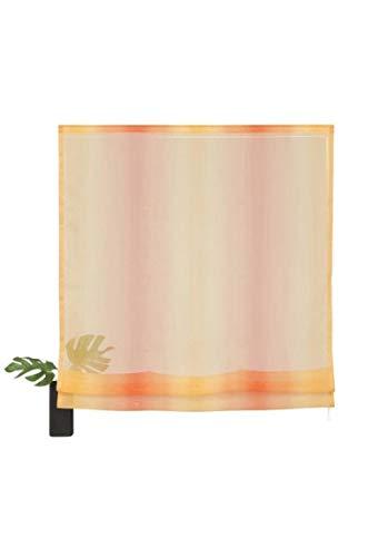 My Home Gardine Vorhang modernes Voile-Raffrollo mit Klettschiene Rollo Orange, Größenauswahl:140 x 60 cm