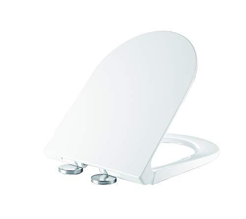 Ultra wit D vormig Duroplast anti-bacteriële snelle release zachte stille sluiting toiletbril met trage zachte sluiten scharnieren snelle bevestiging verstelbare scharnieren UF806 UF806 Kleur: wit