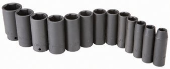 "Pittsburgh 13 Piece 1/2"" Drive SAE Deep Wall Impact Socket Set"