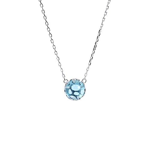 YNING Collar Femenino/Collar con Colgante de Clavícula de Vidrio Azul/Plata de Ley S925 / Longitud de Cadena Ajustable/Regalo para Niñas, Novias, Buenos Amigos