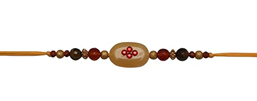 Kalagiri Rakhi/Pulsera para Hermano Reiki Piedra curativa Aventurina Amarilla, Ojo de Tigre, Aventurina roja Raksha Bandhan & Bhaiya Dooj Diseñador Rakhi