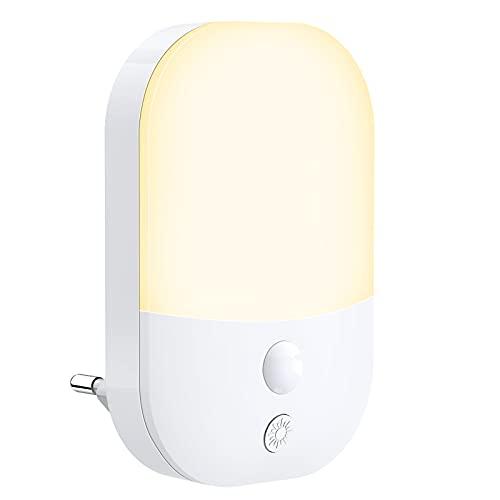 Luz Nocturna Infantil, Luz LED Noche 5 Niveles de Brillo con Luz Sensor, Luz Lámpara Quitamiedos Enchufe para Habitación Bebé, Pasillos, Dormitorio, Sala, Baño, Cocinas, Blanca Cálida