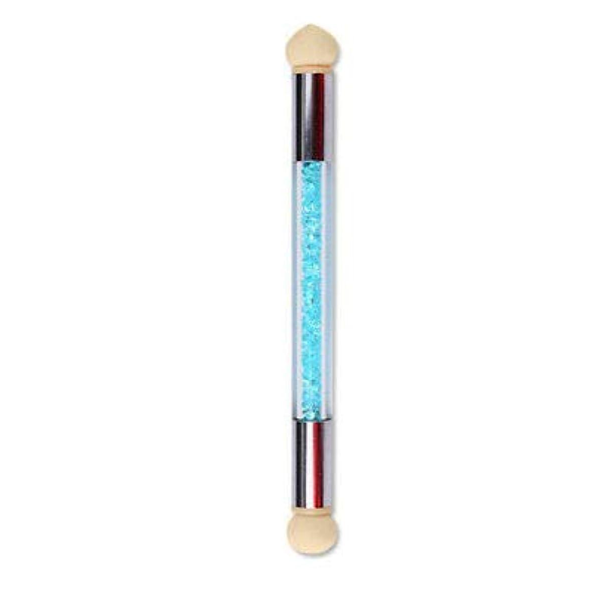 バング受粉するサンプルFidgetGear ネイルアートデュアルスポンジグリッターヘッド点在ピッキンググラデーションシェーディングペンブラシ新しい 青