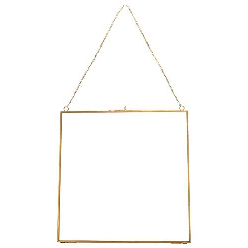 VALICLUD Glas hängender Bilderrahmen zum Jubiläum Hochzeit Quadrat Musterhalter Glas Artwork Zertifikat Foto Bild Display Rahmen Geometrische Party Verzierung 24X24cm