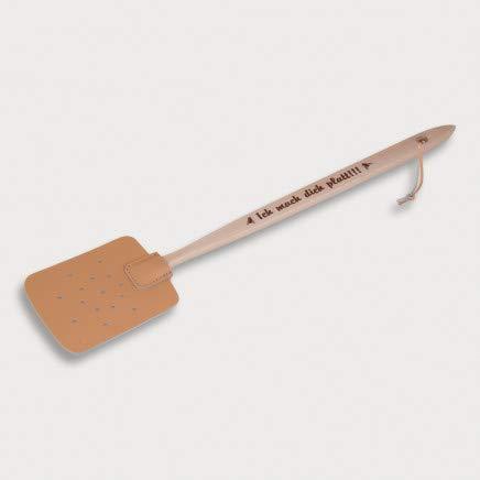 HOFMEISTER® Fliegen-Klatsche, Holz & Kunstleder, 47,5 cm, aus Europa, mit Aufdruck: Ich mach Dich platt!!!, praktischer Mücken-Schläger zum Insekten fangen