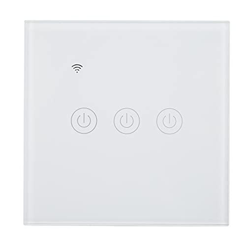 Interruptor de horario, interruptor de atenuación inteligente ABS de protección contra incendios que se puede tocar para la oficina para la luz(Wifi, rosado)