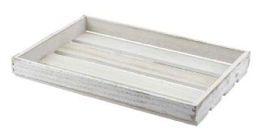 Genware TR225LW houten krat, 35 cm x 23 cm x 4 cm, wit afwasbaar