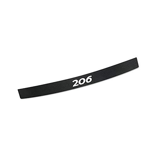 CAXCLPT Coche Protección Fibra Carbon Parachoques, para Peugeot 206 Umbral Pegatinas Tira de Protección Maletero Antirrayas Decorativas Accessories