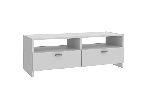 Home Heavenly® Mueble TV salón, White, Fabricado en Europa Mesa televisión con Amplio Espacio de almacenaje, Estable y Robusto en Blanco Mate