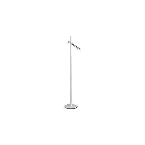 Lámpara SCHULLER VARAS de pie de 2 luces LED. Realizada en metal acabado cromo y blanco mate. Difusor acrílico opal.10W LED, 900 lm, 3.000 K.