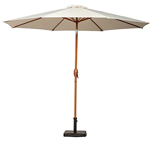 Roseland Furniture Wooden-Look 3m Garden Parasols, Canopies & Shade with Crank Handle and Tilt | Ivory Large Round Adjustable 360 Overhanging Outdoor Umbrella Canopy for Patio Tables