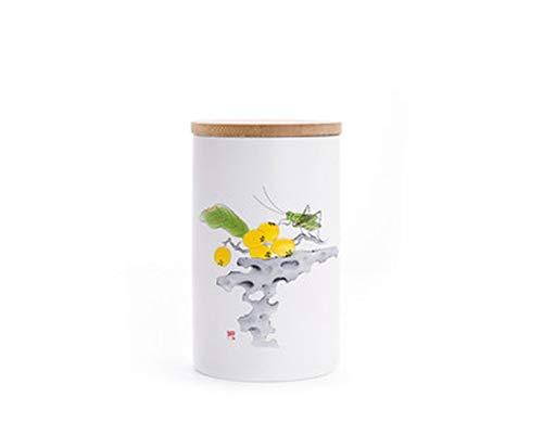 Teedosen mit Bambus-Deckel Tee-Aufbewahrungsbox Geschenk-Box Keramik Dosen Tragbares Teezubehör, 4, Einheitsgröße
