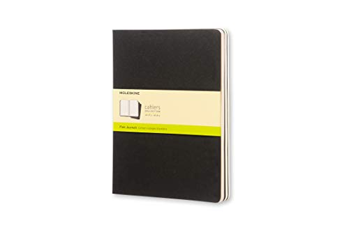 Moleskine Cahier Journal, Soft Cover, XL (7.5' x 9.5') Plain/Blank, Black, 120 Pages (Set of 3)