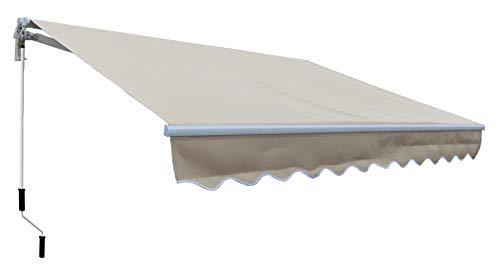 SmartSun Classic Toldo Completo 3x2m Color Beige Lona poliéster. Estructura de Aluminio. Regulable en inclinación. Manivela incluida. Toldo terraza, Jardin, Balcon