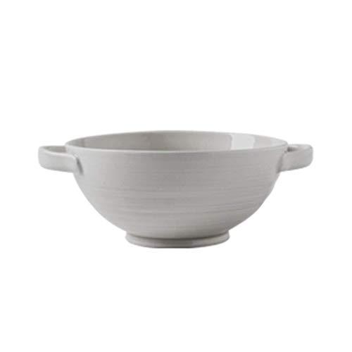 Thuis Grote pols Groente en Fruit Salade Bowl Keramische Europese Dubbele Oor Bowl Ronde Soep Bowl Bestek Decoratieve Hotel Retro Soep Bowl