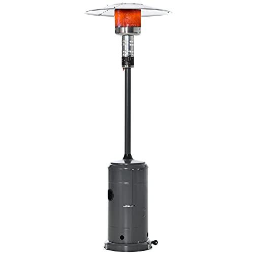 Outsunny Estufa de Gas para Exterior 12,5KW Tipo Sombrilla Calefactor para Patio con Apagado Automático Ruedas y Cubierta Ø81,5x225 cm Gris Carbón