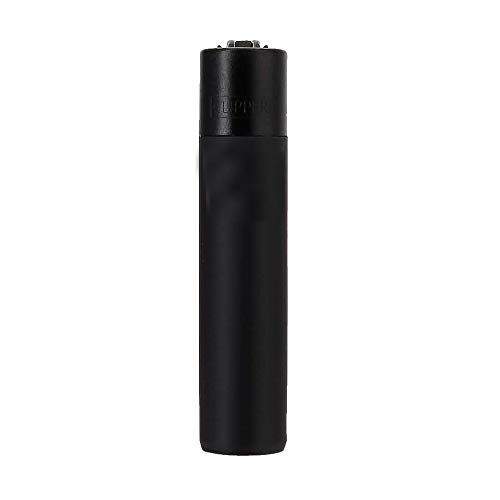 Clipper Metall Gas-Feuerzeug (matt Schwarz) mit SOFORTGRAVUR +VORSCHAU: Gravur inklusive (Gasfeuerzeug, nachfüllbar)