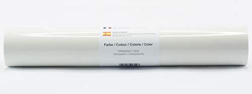Selbstklebende Plotterfolie Vinylfolie 30,5 cm x 3 m glänzend 39 Farben zur Auswahl, Farbe:Transparent