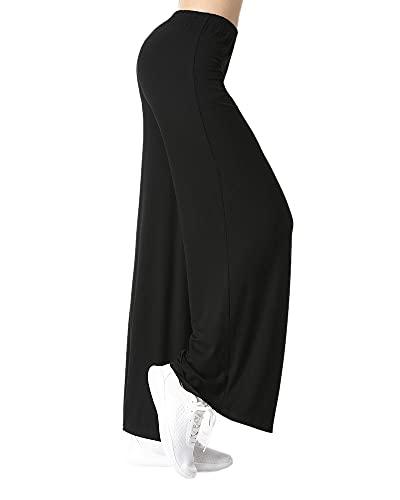 Yoga - Pantalones anchos deportivos para mujer, tallas grandes, sexy, Pilates, Harem, ligeros, para correr, bailar, etc. Negro M