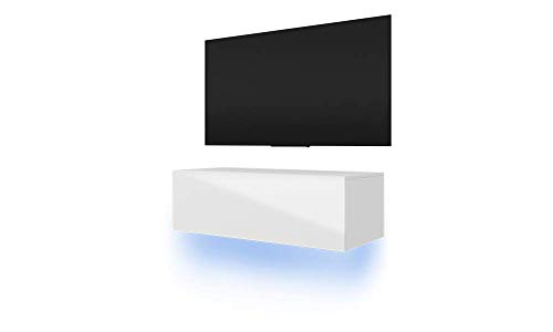 Selsey Skylara TV Hängeboard / TV Schrank, Weiß Matt / Weiß Hochglanz, LED-Beleuchtung in Blau, 100 x 40 x 34 cm