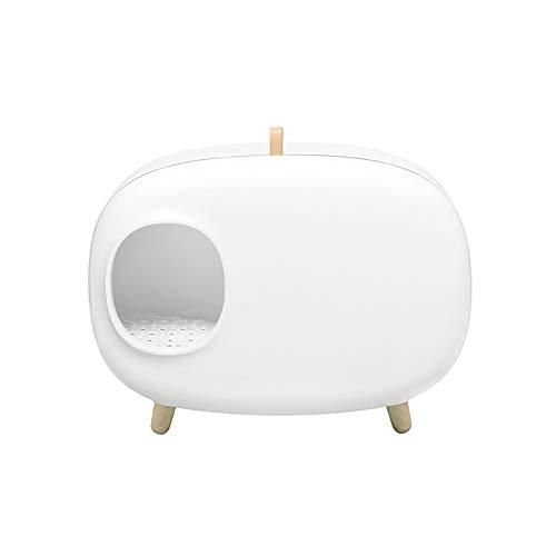 Caja de Arena para Gato Medio Cerrado Encantador Aseo Gatitos Antiolor Ecológico Abertura Frontal Fácil de Limpiar WC Inodoro,White