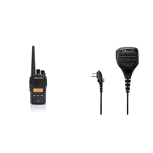 Midland G18 Radio Ricetrasmittente Walkie Talkie 1 Ricetrasmettitore Semi Professionale, Pacco Batteria Ricaricabile Li-Ion (1600 Mah), Caricabatterie Da Tavolo & C1129 Microfono Altoparlante