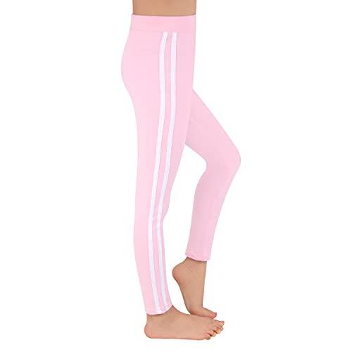 L&K-II Kinder Mädchen Sportleggings mit Seitenstreifen Training Laufhose Sporthose Capri Pant aus Baumwolle 2701 Pink 158/164