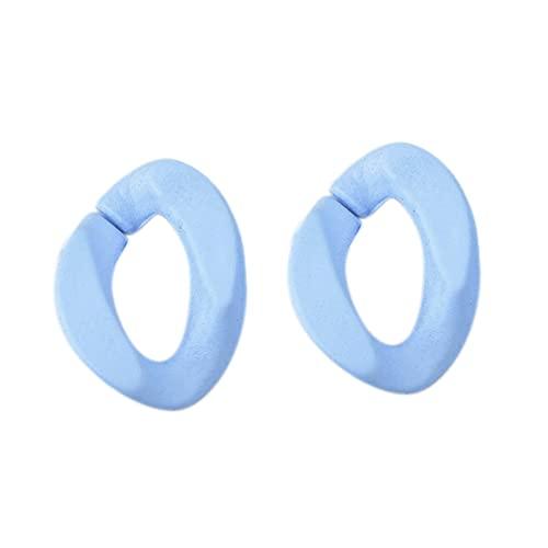 SODIAL Anillo Abierto Ovalado de Giro Plano con Efecto de Borrador de 50 Piezas Cadena de Eslabones con Conector de Abalorios para FabricacióN de Collar y Pulsera Azul Claro
