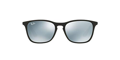 Ray-Ban 0RJ9061S óculos de sol retangulares para homens, Rubber Black 700530, 49 mm
