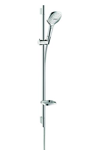 hansgrohe Raindance Select E 120 wassersparendes Duschset 0,90m, 3 Strahlarten, mit Seifenablage, Chrom