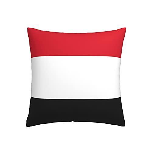 Kissenbezug, Motiv: Flagge von Jemen, quadratisch, dekorativer Kissenbezug für Sofa, Couch, Zuhause, Schlafzimmer, für drinnen & draußen, 45,7 x 45,7 cm