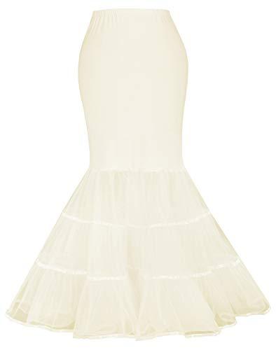Women's Mermaid Long Trupet Petticoat Crinoline Slips Underskirt for Bridal White(XL,Champagne)