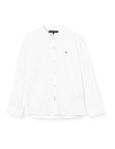 Tommy Hilfiger Jungen Essential Linen Shirt L/s Hemd, Weiß (White 658-170 Ybr),...