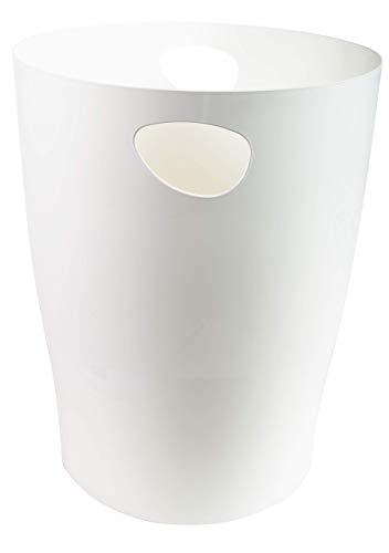 Exacompta 45313D ECOBIN Papierkorb 15 Liter mit Griffen. Eleganter und robuster Papierkorb und Mülleimer im modernen Design weiß