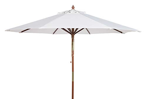Safavieh PAT8009E Collection Cannes White 9Ft Wooden Outdoor Umbrella