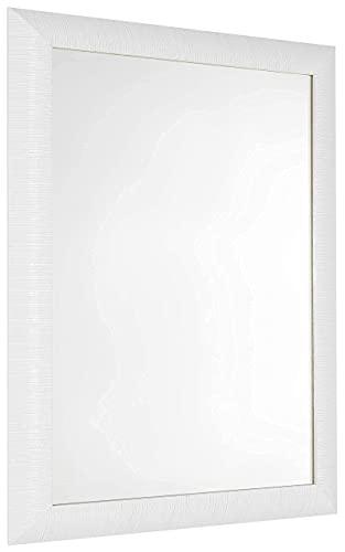 GaviaStore - Elise 70x50 cm - Espejo de Pared Moderno - Muebles para el hogar Arte decoración Sala de Estar Sala Moderna Dormitorio baño Cocina Entrada Wall (Blanco)