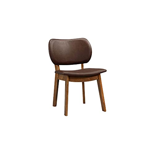 Fat June Wright Faux Leather Dining Chair, Set of Two Stuhl, Holz, braun