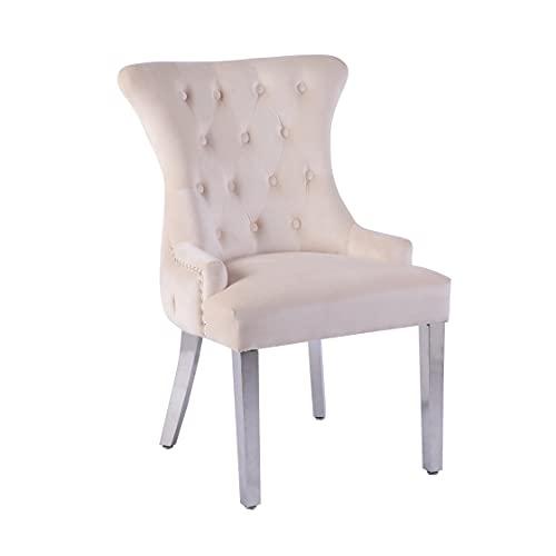 Neo 2 x patas de espejo tachonadas de terciopelo botón de comedor con anillo de copeta, sillón de silla (crema)