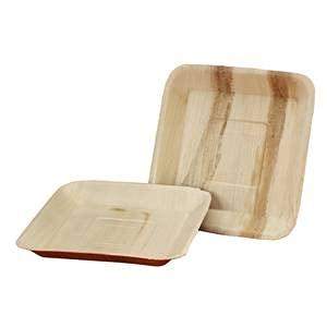 Platos desechables de hoja de palma | 25 unidades | Platos biodegradables de forma cuadrada | 7 pulgadas – 18 cm | Vajilla 100% natural hoja de palma Areca.
