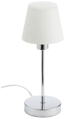 TRIO, Lampe de table, Luis 1xE14, max.40,0 W Verre mat, Blanc, Corps: metal, Chrome Ø:12,0cm, H:32,0cm IP20,Interrupteur tactile 4 niveaux